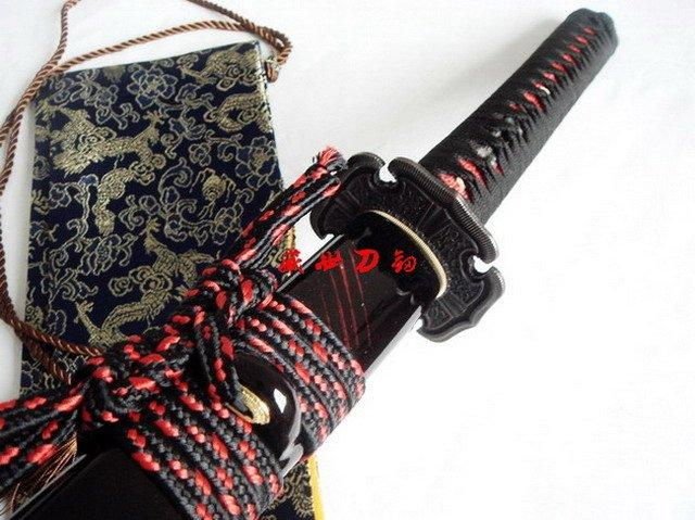 Battle Ready Clay Tempered Japan Samurai Katana Cherry Blossom Tsuba Flamy Hamon