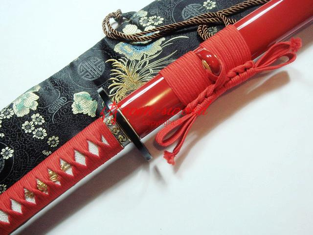 Handmade Red Japanese Katana 9260 Spring Steel Blade Cyclone Tsuba Very Sharp