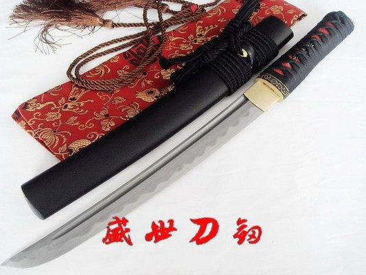 20.5 Inch Hand Forge Forged Japanese Tanto Sword Folded Steel Blade Sharpened Blade Black Wrapped