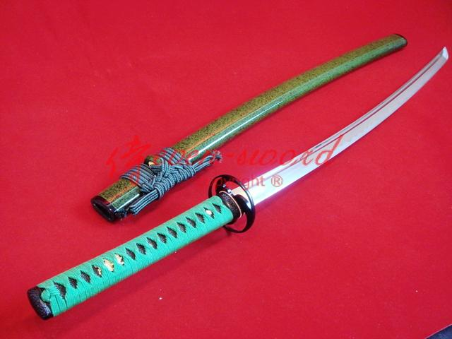 Battle Ready 9260 Spring Steel Green Japanese Katana Cyclone Tsuba Functional Sword