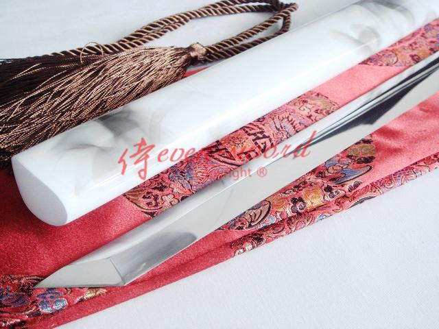 Handmade 9260 Spring Steel Blade Battle Ready White Black Straight Ninja Sword