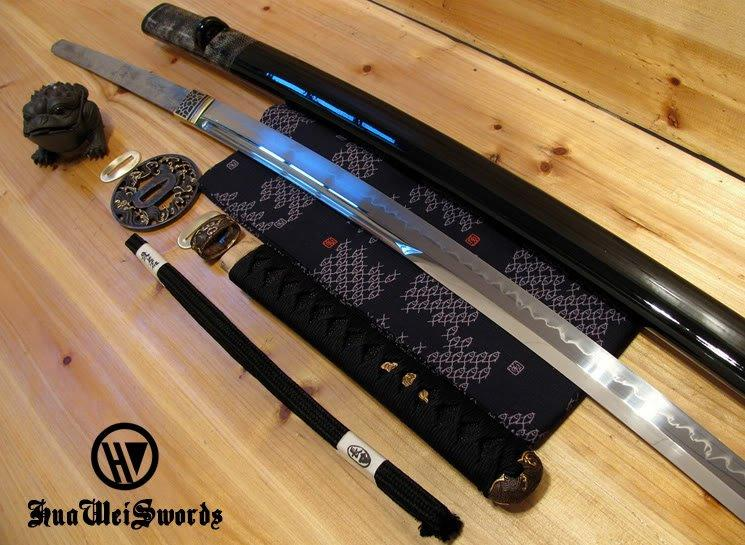 High Carbon Steel T10 Steel Blade Handforged Unokubi Zukuri Wave Fitting Samurai Katana With Real Hamon
