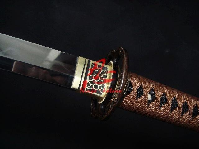 Clay Tempered Katana Wakizashi Sword Sanmai Blade Sharpened Edge