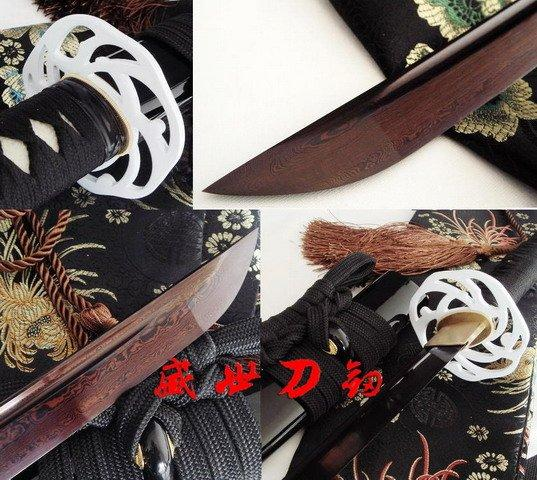 Hand Forged Japanese Samurai Katana Iron Tsuba Titanium Adsorb Folded Steel Sword
