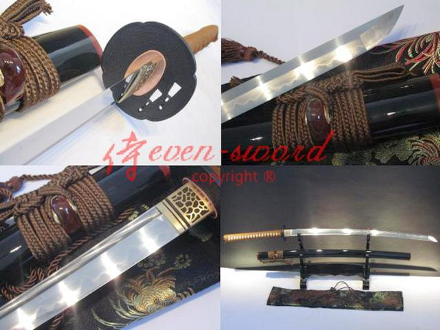 Clay Tempered Folded Steel Japanese Katana Functional Sword Full Tang Blade