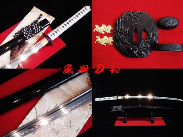 Battle Ready Clay Tempered 1095steel Japanese Katana Tiger Tsuba Full Tang Blade