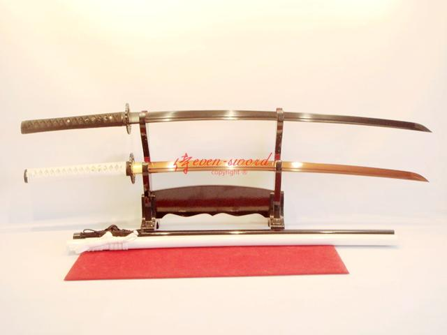 Handmade White Black Japanese Katana Sword Twins Sword Full Tang Sharpened