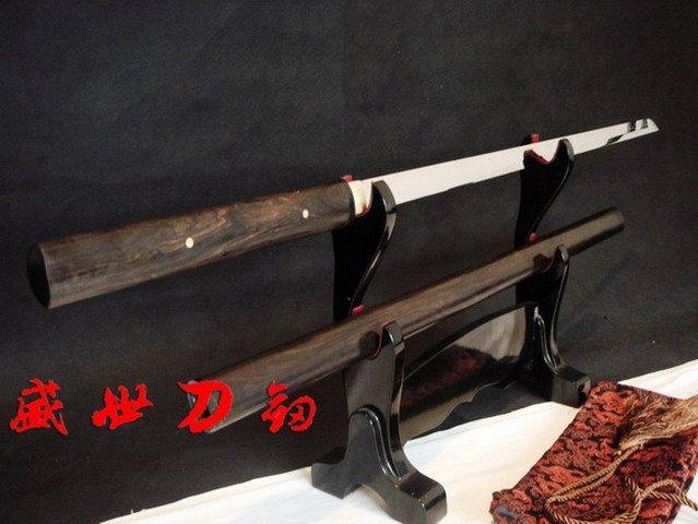 Battle Ready Clay Tempered T-10 Steel Japanese Zatoichi Katana Shirasaya Sword Rosewood Sheath Sharpened