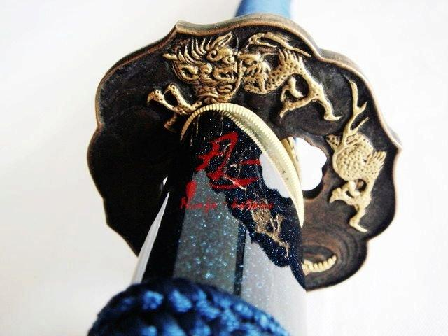 Clay Tempered 1095 High Carbon Steel Blade Japanese Dragon Tsuba Battle Ready Sword