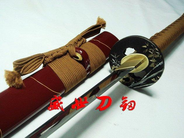 Hand Forged Red Japanese Bamboo Tsuba Katana Sword Sharpened Can Cut Tatami
