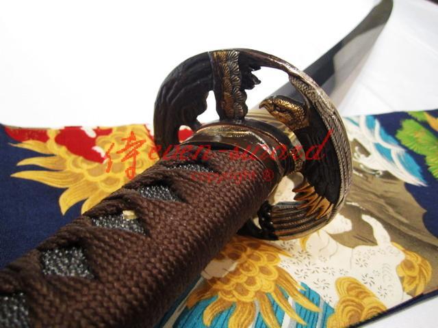 Handmade Japanese Samurai Functional Katana Sword Folded Steel Blade Eagle Tsuba