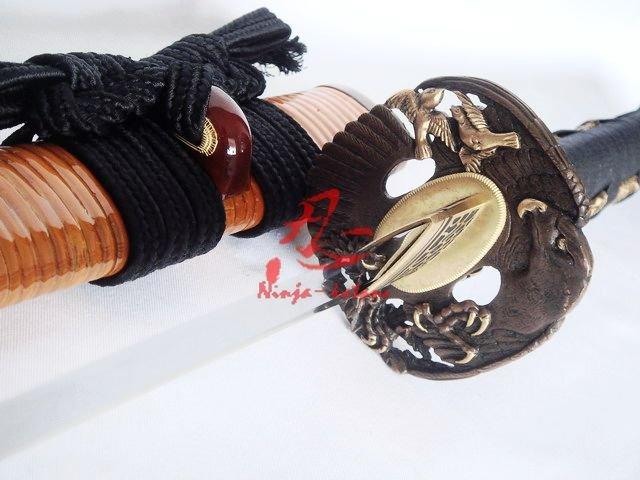 Clay Tempered T10 Blade Japanese Samurai Katana Eagle Tsuba Razor Sharp Edge