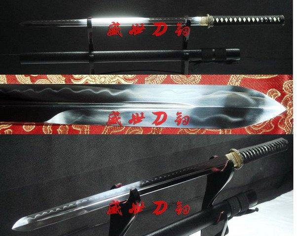 Battle Ready Japanese Samuri Katana Wave Tsuba Sword Flamy Hamon Sharpened Blade