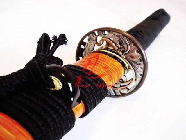 Clay Tempered T-10 Steel Battle Ready Japanese Samurai Katana Butterfly Tsuba Sword
