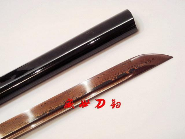 Handforged Black Red Folded Steel Japanese Ninja Sword Full Tang Sharpened Blade