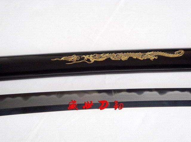 Handmade Japanese Dragon Theme Katana Clay Tempered Sanmai Abrasive Blade